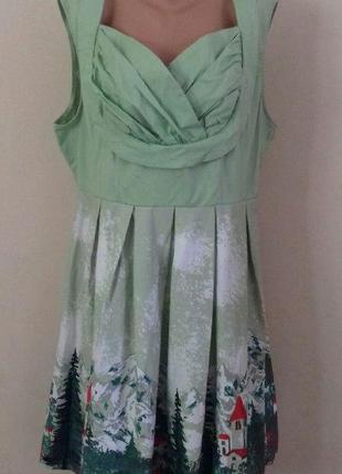 Натуральное платье с принтом большого размера