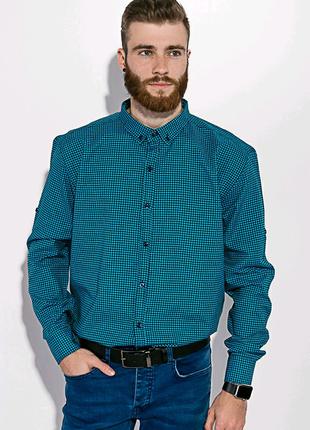 Рубашка мужская в клетку черная с бирюзовым