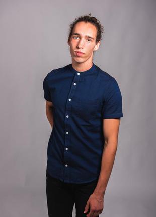 Рубашка с коротким рукавом воротник стойкой без воротника синяя