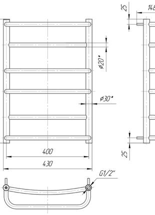 Водяной полотенцесушитель Люкс 600x430/400