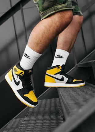 """Шикарные мужские кроссовки nike air jordan  1 """"yellow black"""""""
