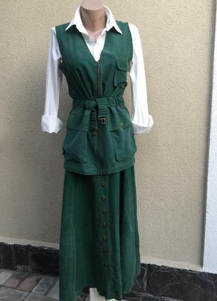 Винтаж,костюм(юбка+жилет(куртка-жакет))шелк100%
