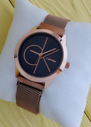 Женские золотистые часы с сетчатым браслетом на магните, черны...
