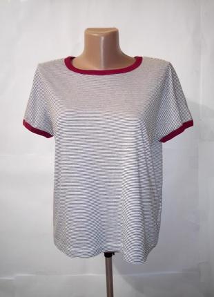 Красивая хлопковая футболка в полоску h&m uk 12 / 40 / m