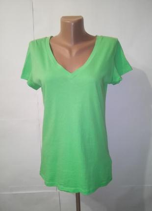 Хлопковая зеленая футболка gap uk 8/36/xs