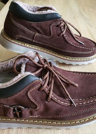 Стильные ботинки из натуральной кожи на меху, мужские.
