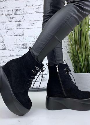 Ботинки демисезонные на платформе, ботинки платформа, эко-замш...
