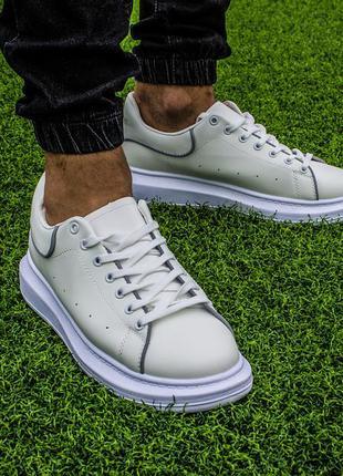 Мужские кроссовки кеды белые в стиле alexander mcqueen