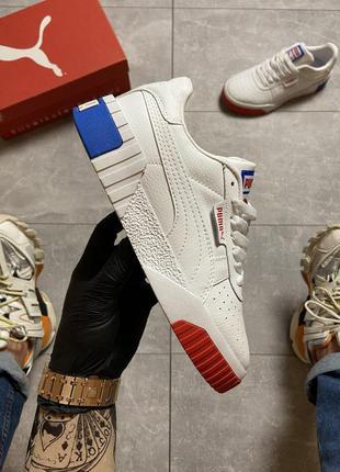 Puma cali white and blue/red