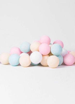 "Тайская LED-гирлянда ""Pastel"" (20 шариков) на батарейках"