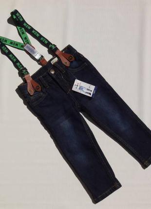 Lupilu. джинсы с подтяжками для мальчика 86 размер. слим фит.