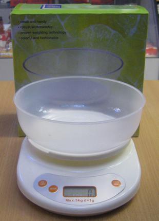 Весы кухонные электронные с чашей до 5 кг (белые)