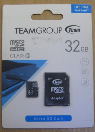 Карта памяти microSD Team 32GB 10 class (с адаптером)