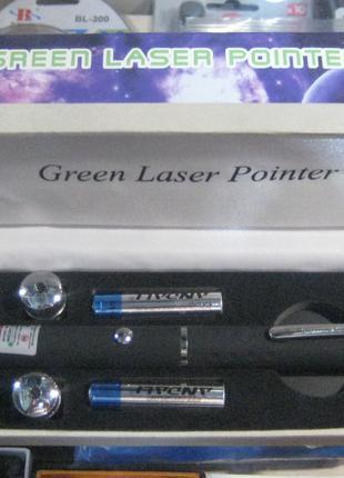 Мощная лазерная указка Laser Green с 5-ю насадками (зелёный луч)
