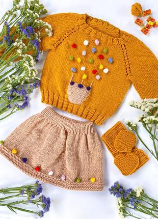 Детский осенний костюм с юбкой и повязкой на девочку