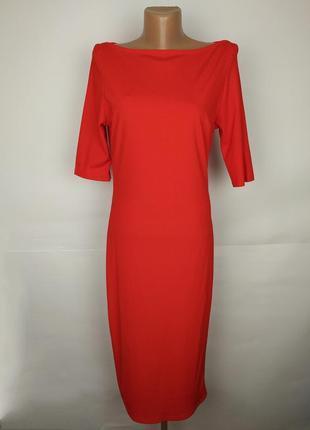 Новое красивое красное платье по фигуре в рубчик uk 12/40/m