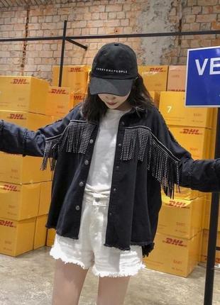 Куртка женская джинсовая чёрная