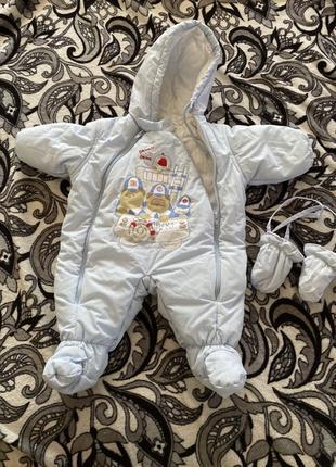 Детский зимний комбинезон с варежками