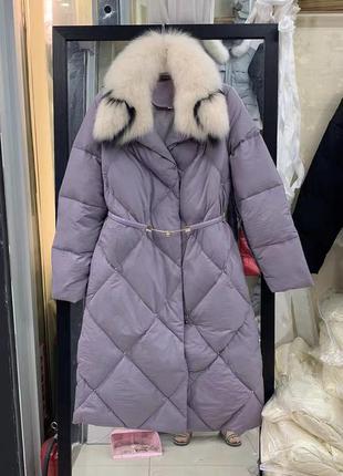Куртка -пуховик с меховым воротником