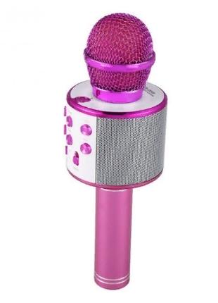 Беспроводной Bluetooth караоке микрофон WS-858 розовый