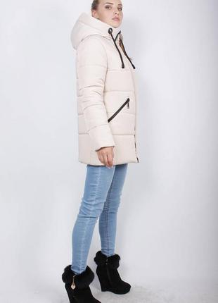 Куртка женская осень весна удлиненная деми бежевая