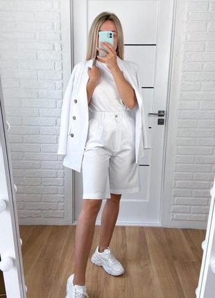 Лляний жіночий костюм двійка шорти бермуди піджак жакет