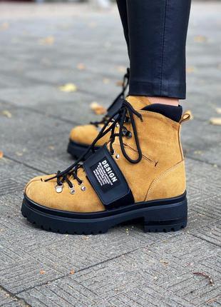 ❤ женские коричневые  нубуковые осенние демисезонные ботинки б...