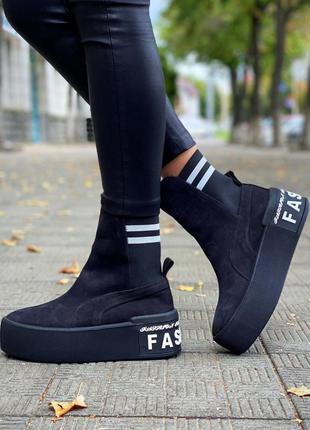 ❤ женские черные нубуковые осенние демисезонные ботинки ботиль...