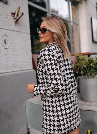 Твидовый костюм гусиная лапка пиджак