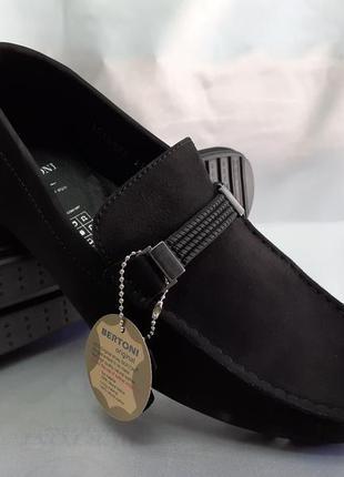 Распродажа!комфортные чёрные мокасины нубуковые bertoni 40-45р.