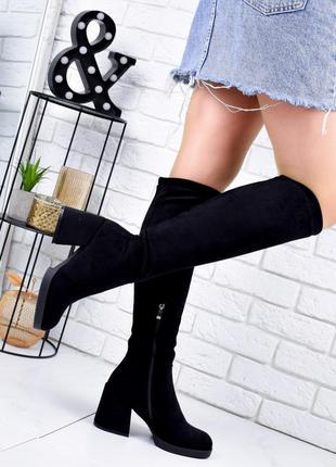 ❤ женские черные осенние демисезонные высокие сапоги ботфорты  ❤