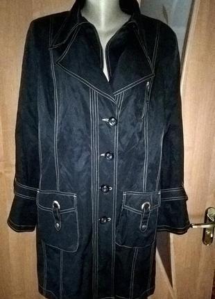 Красивая куртка-плащ черного цвета (ветровка), размер 56-58 укр.