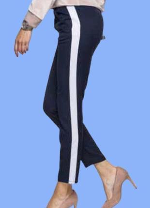 Стильные ♥️♥️♥️ темно синее брюки с лампасами zara.