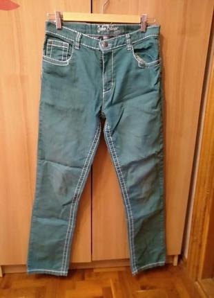 Брюки штаны джинсы зеленого цвета