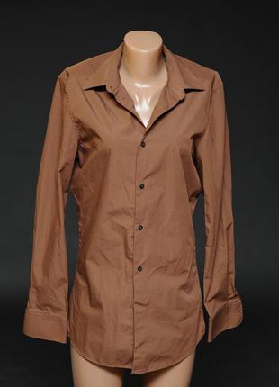 Next. рубашка мужская приталеная цвета кэмел.