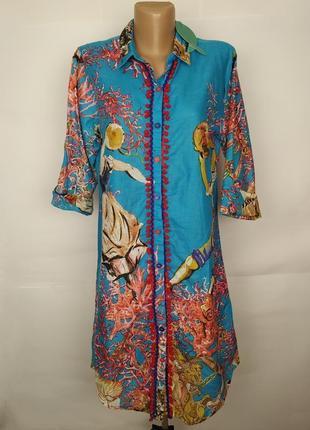 Платье в рубашечном стиле легкое хлопковое в красивый принт s