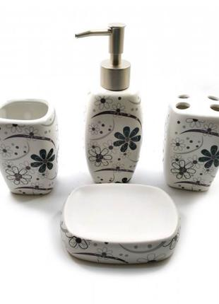 Набор для ванной керамический белый (24х22х6,5 см