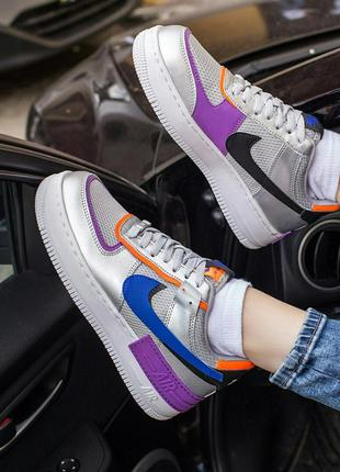 Шикарные кроссовки nike air force 1 shadow metallic silver кро...