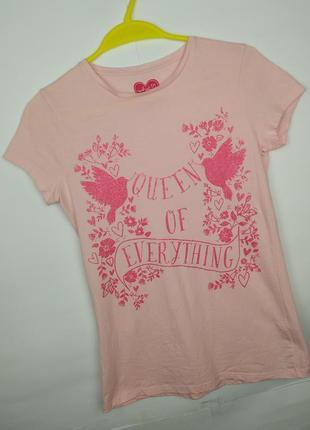 Футболка розовая хлопковая красивая для девочки f&f 12-13 лет