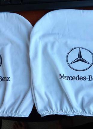 Белые чехлы подголовники для авто