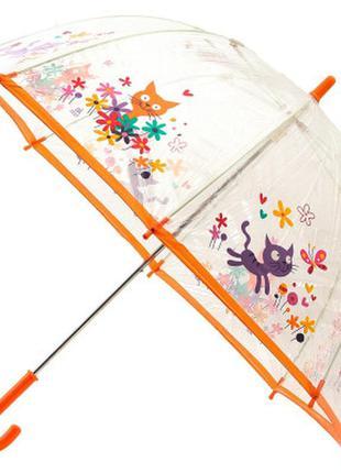Детский прозрачный зонт трость zest веселые котята