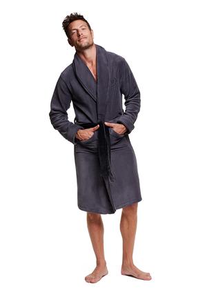 Мужской халат серого цвета с длинным рукавом henderson 36375