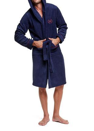 Мужской халат графитового цвета с капюшоном henderson 37426 vi...