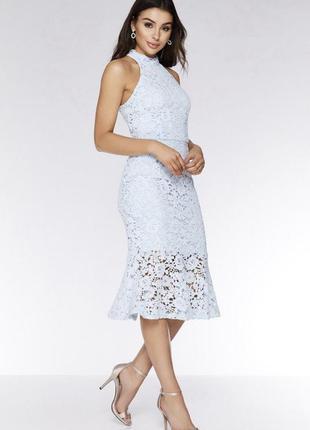 Нереальное небесно-голубое платье-рыбка quiz. бесплатная доста...