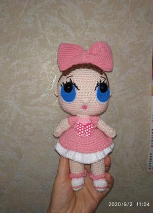 Вязаная игрушка Кукла Лол. Ручная работа. Игрушка крючком