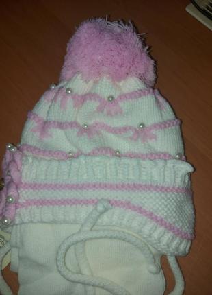 Зимний детский комплект шапка и шары