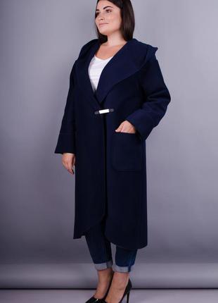 Женское пальто-кардиган с капюшоном больших размеров рр 54-64