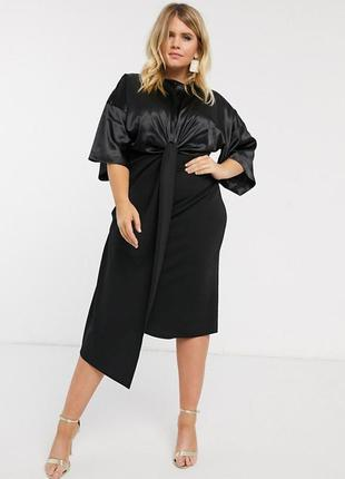 Нарядное платье миди с атласной вставкой asos чёрное рукава ки...