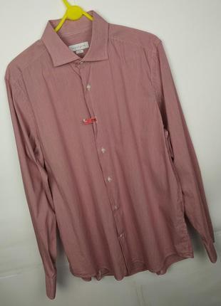 Красивая бордовая мужская рубашка размер s