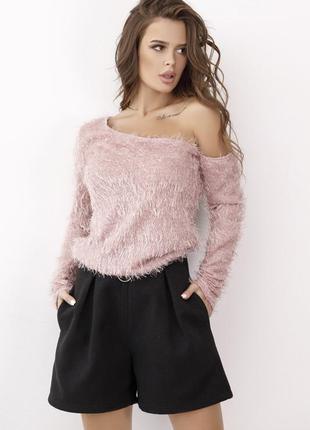 """Оригинальный свитер """"травка"""" с открытым плечом"""